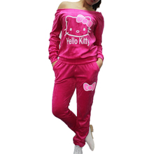 Fashion Brand Velour Tracksuit Female Hello Kitty Printed Velvet Sweatshirts+Pants Sportswear Set Track Suit Women Sweatpants