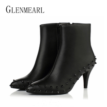 Genuine Leather Women Boots Shoes Winter Ankle Boots Plus Size Rivet Horse Hair Pointed Toe Zip Sexy Woman Shoes Fur High Heels4(China)