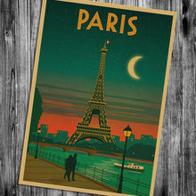 Paris Posters of famous scenic spots Nostalgia kraft paper poster retro dormitory hang - painting bar cafe decoration painting