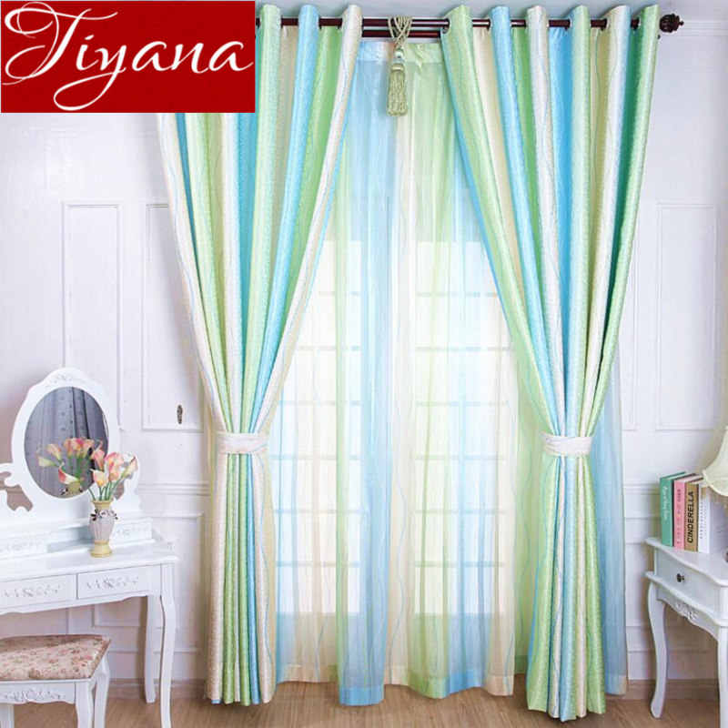 Green Curtains Jacquard Modern Living Room Tulle Curtains Kids Bedroom Striped Curtains Drapes Sheer Fabrics Cortinas T&149 #30