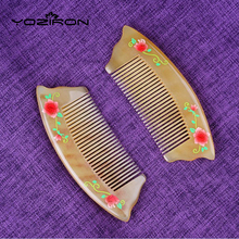 YOZIRON pure handmade Sheep horn comb rose laquer art health care Ant-static beauty Make up Massage brush 2017 New Gift Y063