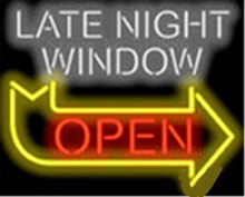 "Late Night Window Open with Right Arrow Neon sign Glass Tubes Light Bar Beer Club Custom Neon Signs Bulbs Store signage 19""x15""(China)"