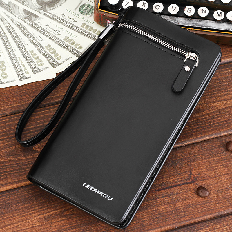 Fashion business mens leather zipper long wallets men credit card holder phone handbag Male Leather Clutch purses with hand belt<br><br>Aliexpress