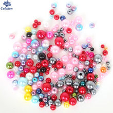350Pcs/lot Random Mixed Color/Sizes 4mm-10mm DIY Imitation Garment Beads Pearl ABS Round Beads For Fashion Jewelry Making(China)