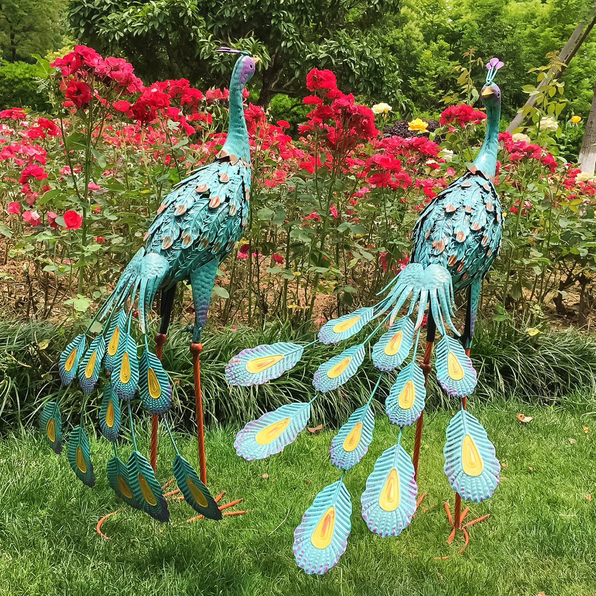 2Pcs Pink Lawn Flamingo Garden Ornaments Pond Outdoor Sculpture Patio Decor