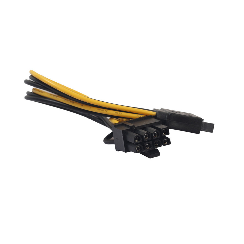 15Pin SATA Male To 8pin(6+2) PCI-E Male Video Card Power Supply Adapter Cable (7)