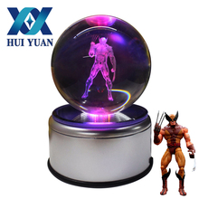 3D Wolverine crystal Ball Fancy LED Lighting and Spinning Primary Base Advance 3D Laser Engraving Valentine Children's Gift