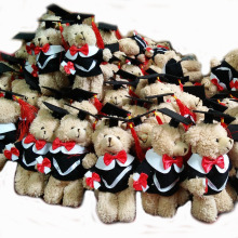20pcs/lot Plush graduation bear, stuffed graduation bear with graduation gown pendent, 2 colors for bear body to choose
