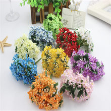12PCS Mini Fabric Cherry Plum Blossom Artificial Silk Baby Breath Floral Bouquet,Table Arrangements Weddding Decorations(China)