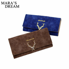 Mara's Dream Deer Wallet Women Leather VintageTri-Folds Luxury Cash Purse Girl Black Clutch Coin Long Clutch ID Card Holders(China)