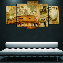 Wall Art Modular Pictures Modern Home Decor Canvas HD Print 5 Pieces Italian Colosseum Map Painting Frame Abstract Poster PENGDA(China)