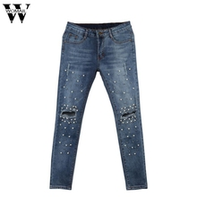2017 Women Knee Hole Ripped Jeans Stretch Denim Pencil Pants Slim Fit Rivet Pearl Jeans Long Trousers Low Waist Cowboy O17(China)