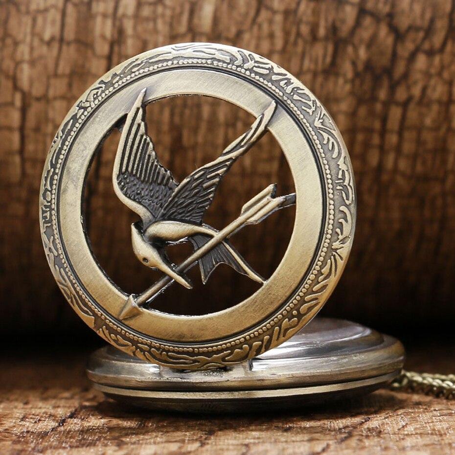 Retro Quartz Watch The  Theme Hollow Bronze Pocket Watch Bird Design Men Women Clock Vintage Pendant Gifts (3)