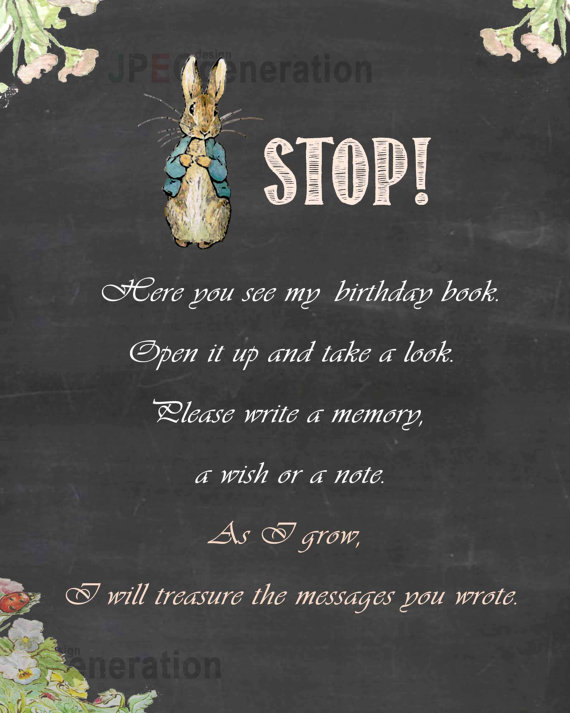 Personal Customized Birthday message sign book, STOP here, Chalkboard Birthday Poster, Peter Rabbit Guest Book Sign backdrop<br>