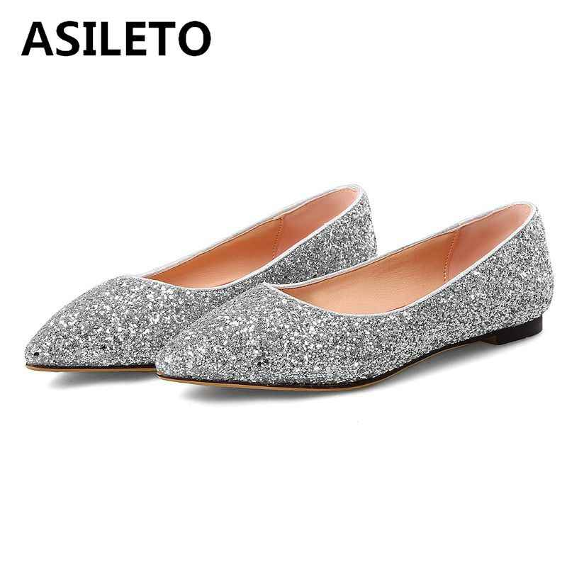 ASILETO Sequine Glitter Ballet Flats Women shoes party wedding shoes  pointed toe footwear ladies bridal moccasins 40715811618a