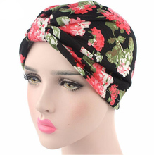 New Fashion Women vintage Turban Hats flower Turban Hat Head Wrap Chemo Hats Bandana Hijab knotted Indian cap
