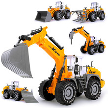 1:22 Diecast Simulation Plastic Construction Engineering Vehicle Excavator Car Truck Inertia Model Classic Toy For Boy Kids Gift