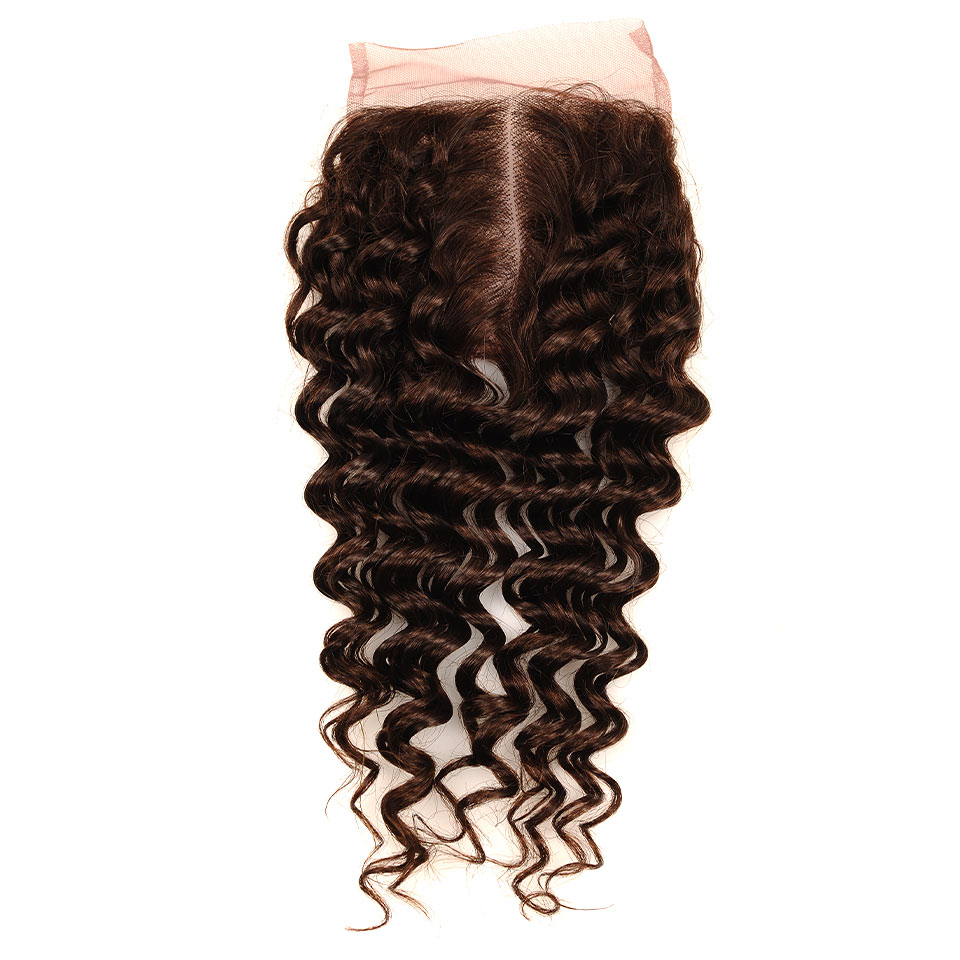 Brown #4 Brazilian Deep Wave Hair 3 Bundles With Closure Deal Pinshair Human Hair Weave Bundle With Middle Part Closure Non Remy (70)