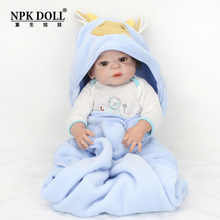 Npkdoll 22 Inch Newborn Baby Doll Silicone Simulation Artificial Doll Toy Infant Feeding Reborn Baby Model Christmas Gifts