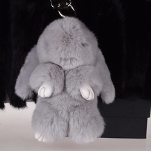 Rex Rabbit Fur bunny keychain Cute Doll Key chains Pendant Wallet Pom Car with best gift keychains