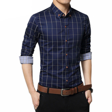 Plus Size 4XL 5XL 2017 Men's Plaid 100% Cotton Dress Shirts Male Long Sleeve Slim Fit Business Casual Shirt Camisa For Man YN259