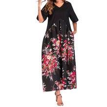 (Ship from US) Boho Dress Loose Pockets Short Sleeve Women Dress Floral  Casual Ankle-Length vestido de festa vestido longo harajuku 078ac3c4e0d6