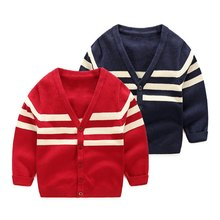 New Novelty Open Stitch Autumn Striped V-neck Sweater Winter Korean Style Children's Wear Cardigan Sweater For Baby Boy(China)