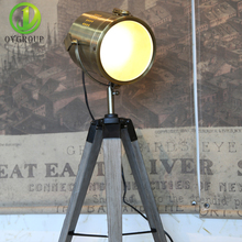 Retro Wood Tripod Table Lamp Spotlight Lamps Photography Desk Lights Stand Creative Living Room OY16T10K(China)