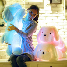 New Hot Lapinou 50cm 80cm LED light dog stuffed animal plush toys light up puppy doll luminous pillow kids toy christmas gift(China)