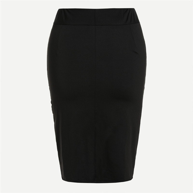COLROVE Sexy Ruched Mini Pencil Skirt Women Black Asymmetrical Overlap Summer Skirts 2017 New Elegant High Waist Slim Club Skirt 18