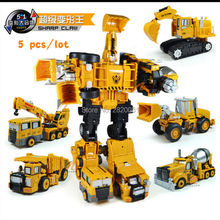 5pcs/lot Trans truck 5-in-1 transformation robot car,Engineering vehicle metal models for boy best gift 5 styles combination set