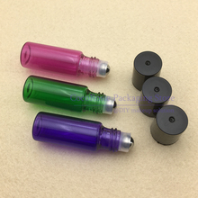 (30pieces/lot)5ML Glass Roll on Bottle Essential Oil Roller-on bottle green/bluish violet/rose red Perfume bottle(China)