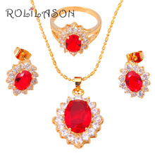 Party Sets gold Tone Zircon Garnet Jewelry Sets Earrings Necklace Ring Sz #7.5#6.5 #5.5 Fashion Jewelry JS136