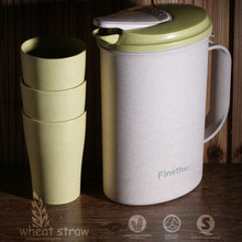 Finether Wheat Straw Heat Resistant Water Pitcher Water Jug with lid + 3 cups free beverage pitcher for Water(China)