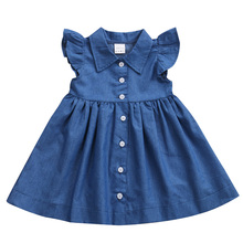 Girls Dress 2017 Baby Girls Kid Toddler Denim Dresses Clothes Summer Ruffle Sleeve Outfits Dress For Girls Vestidos(China)