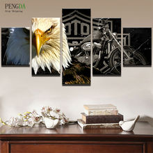 Canvas Art Wall Pictures Home Decor Frame Living Room Poster HD Print 5 Panel Motorcycle Animal Eagle Modern Oil Painting PENGDA(China)