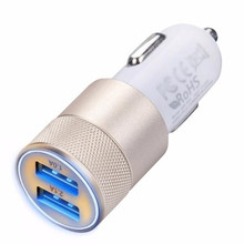 2017 2.1A/1.0A Mini Dual 2 Ports 12V USB Auto Power Charger Adapter Charging Adaptor for Mobile phone Battery charger Gold