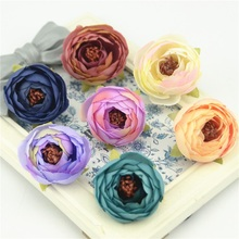 5pcs 4cm Mini Silk Rose Bud Artificial Scrapbooking Flower Head For Wedding Decoration DIY Wreath Gift Craft Flower Accessories