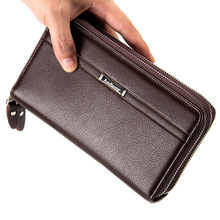 2017 business and casual double zipper clutch purses multi-function big capacity money bag wrist design pu leather wallet male