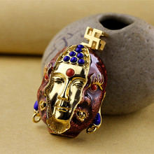 Real 925 Sterling Silver Buddha Figure Pendants For Men Inlaid Natural Lapis Lazuli Red Onyx Natural Stones Vintage Jewelry