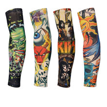 18 Colors 2pcs Cycling Sports Tattoo UV Block Cool Arm Sleeves Armwarmer Cover Sun Protection Skull Bike Bicycle Arm Warmer