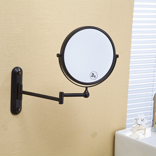 Bath Mirrors 8 Black Antique Makeup Mirror 1x3 Magnifier Brass Cosmetic Bathroom 2 Side Faced Wall Mounted Home Decoration 1548<br>