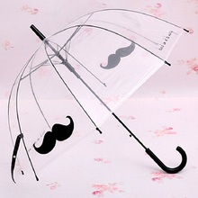 Long Handle Transparent Umbrella Women Girls Creative Semi-automatic Sunny and Rainy Umbrella Novelty Items(China)