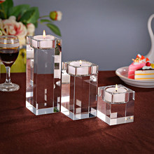 1 Piece Transparent K9 Crystal Cube Cup Candle Stand Holder 3 Sizes Europe Tealight Holders For Wedding Home Decor Candlestick(China)
