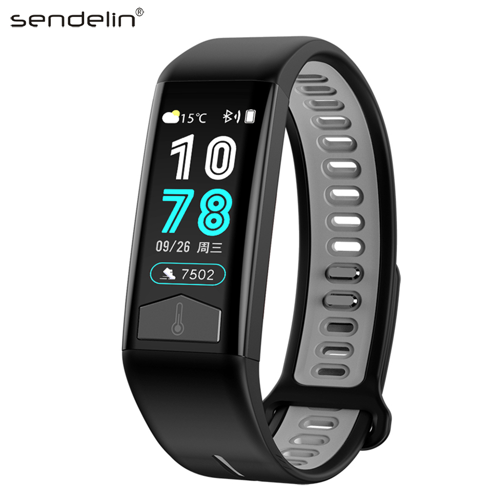 Smart bracelet IPS color screen ECG measurement thermometer heart rate monitoring Bluetooth music control for Android smartwatch
