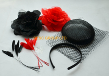NEW Red black sinamay base veiling silk flower satin headband feathers for fascinator .