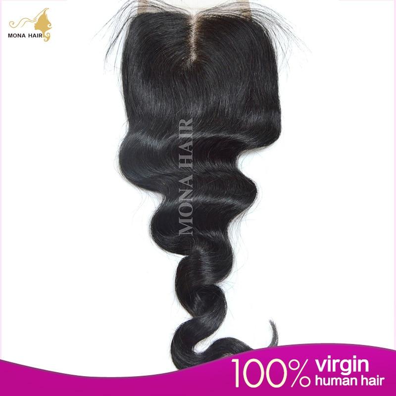 Brazilian Loose Wave Lace Clousre 7A Grade 4x4  Swiss Lace Bleached Knots Human Hair Closure Free Part/Middle Part/Three Part<br><br>Aliexpress