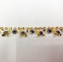 Free Shipping 2 yards Crystal Rhinestone Trim, Rhinestone Applique, Wedding Applique,Rhinestone Chain RMEI002