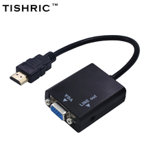 TISHRIC Male to Female for HDMI to VGA With Audio Converter Adaptor Cable for PC Laptop Tablet 1080P HDTV for HDMI2VGA Connector