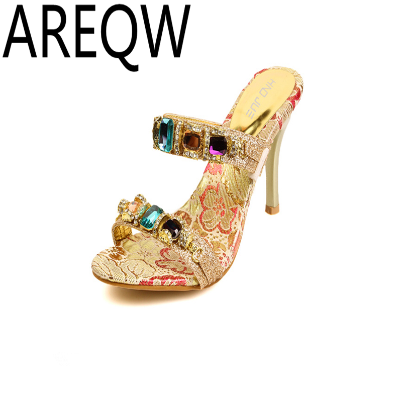 AREQW 2017 Summer New European and American Sexy Temperament Shoes Double Color Diamond Chain with High-heeled Cool Sandals<br><br>Aliexpress